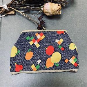Vintage Fruit Print Coin Pouch